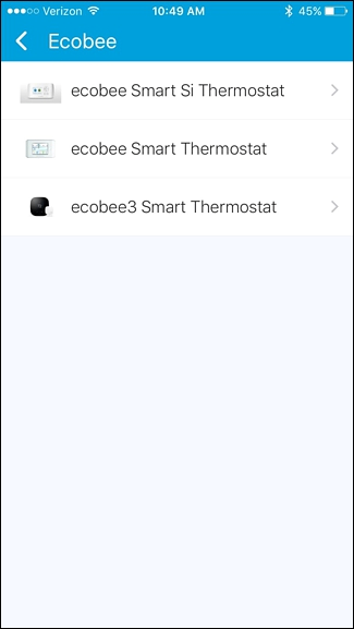 Selecting the ecobee model