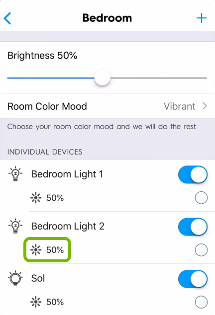 Brightness icon highlighted for individual light in C by GE app.