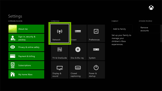 Xbox one settings menu with network highlighted.