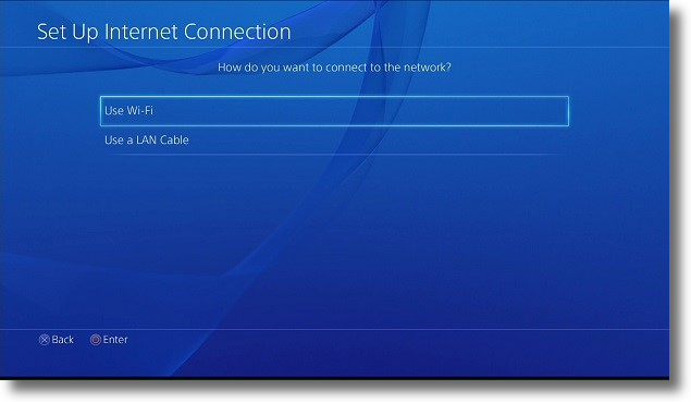 PlayStation Set Up Internet Connection screen. Screenshot.