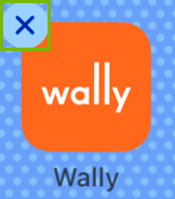 Wally app icon with X highlighted