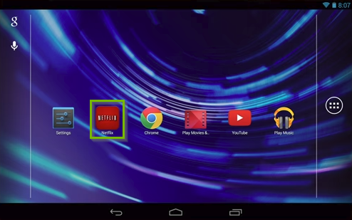 Android home screen highlighting the Netflix app.