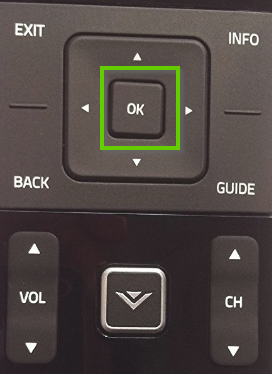 Vizio remote showing the OK button