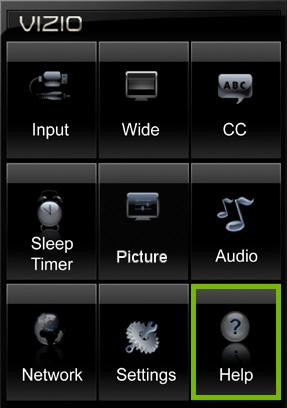 Help option highlighted in VIZIO TV settings on VIA platform.
