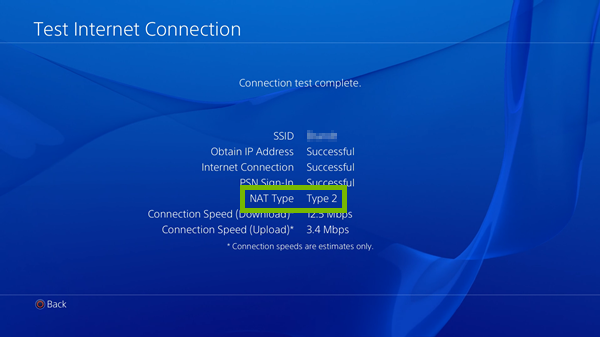 NAT Type highlighted on PlayStation 4 internet test results screen.