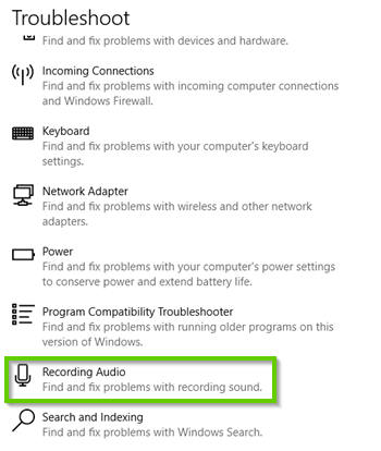 Windows 10 Troubleshooter list with recording audio highlighted.