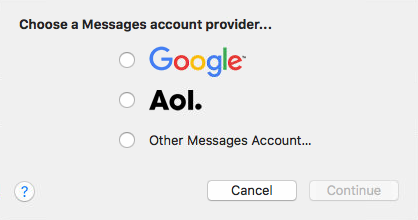 Message account provider screen with Google, Aol, and Other Messages Account options. Screenshot.