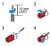 Diagram showing how to connect the speaker wires