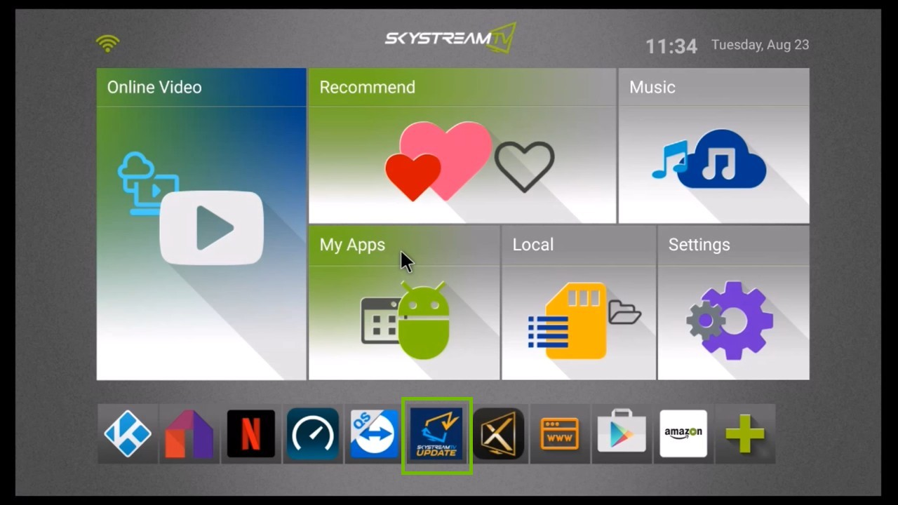 home screen with SkyStreamTV Update icon highlighted