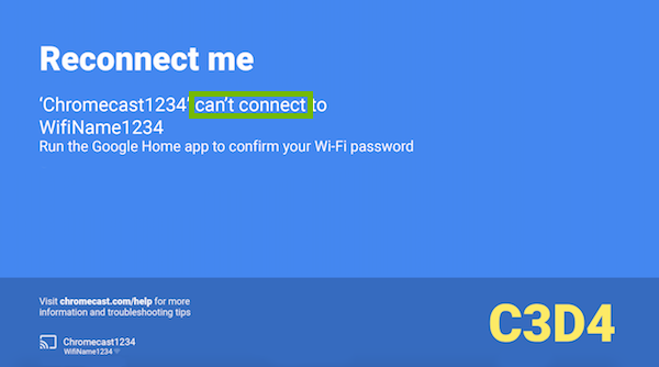 Reconnect me error with can't connect highlighted.