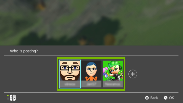 Account selection screen on Nintendo Switch.