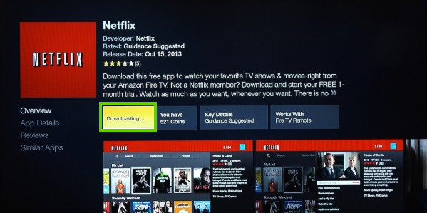 Amazon fire tv with netflix being downloaded