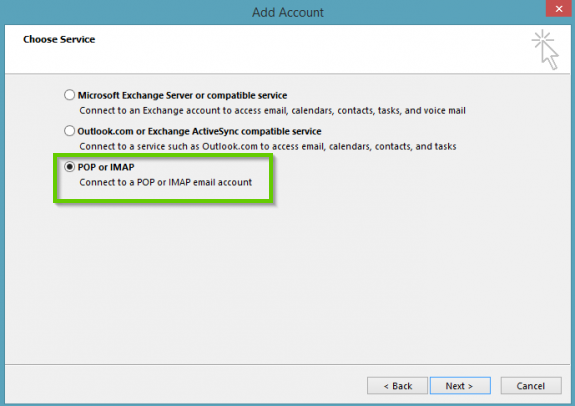 Outlook pop or imap selection