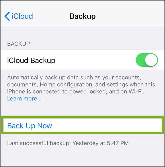 iOS iCloud backup settings highlighting the back up now option.