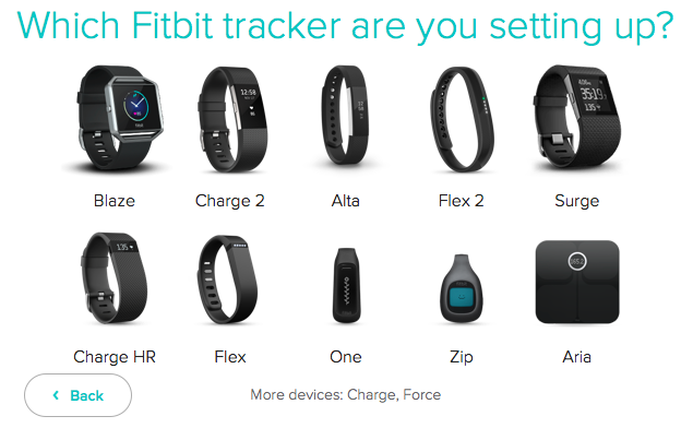 List of various Fitbit trackers. Screenshot.