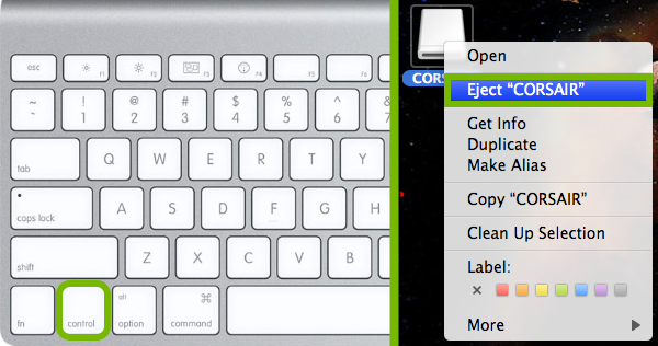 Ctrl button pointed out on Mac keyboard and Eject option highlighted in context menu for disc drive.