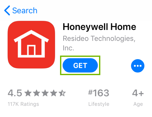 Get button highlighted in App Store for found app.