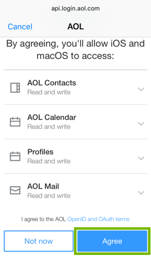 AOL permissions page