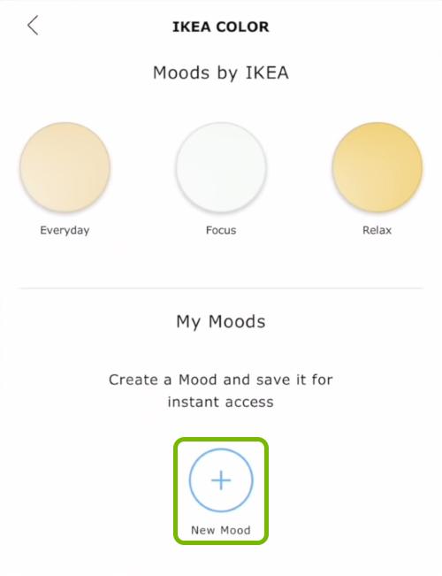 New Mood option highlighted in Ikea Tradfri app.