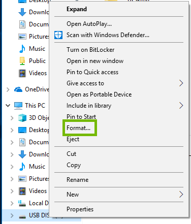 USB Disk Right-Click menu with Format highlighted.