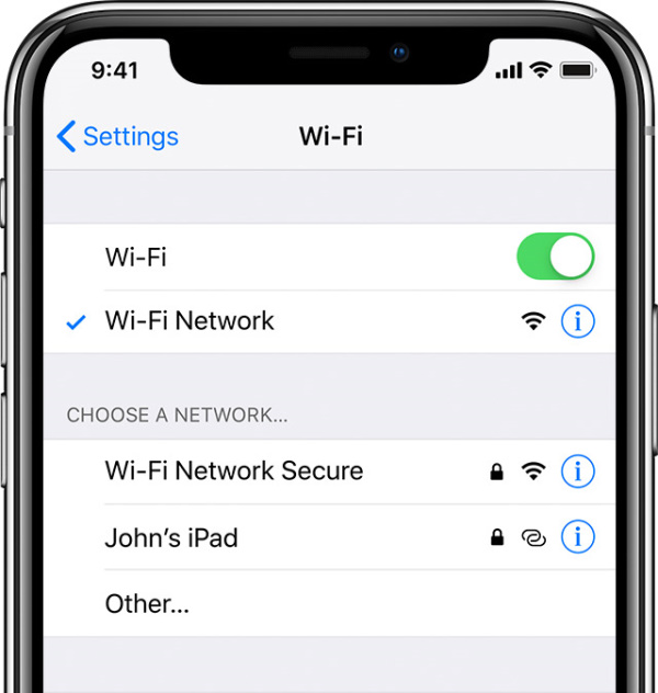 WiFi settings on iOS.