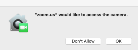 Prompt from newly installed app asking for permission to use the camera on Mac.