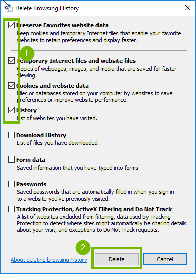 Delete browsing history with first four checkboxes and delete highlighted. Screenshot