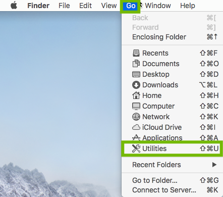 Finder Go Menu with Go and Utilities highlighted.