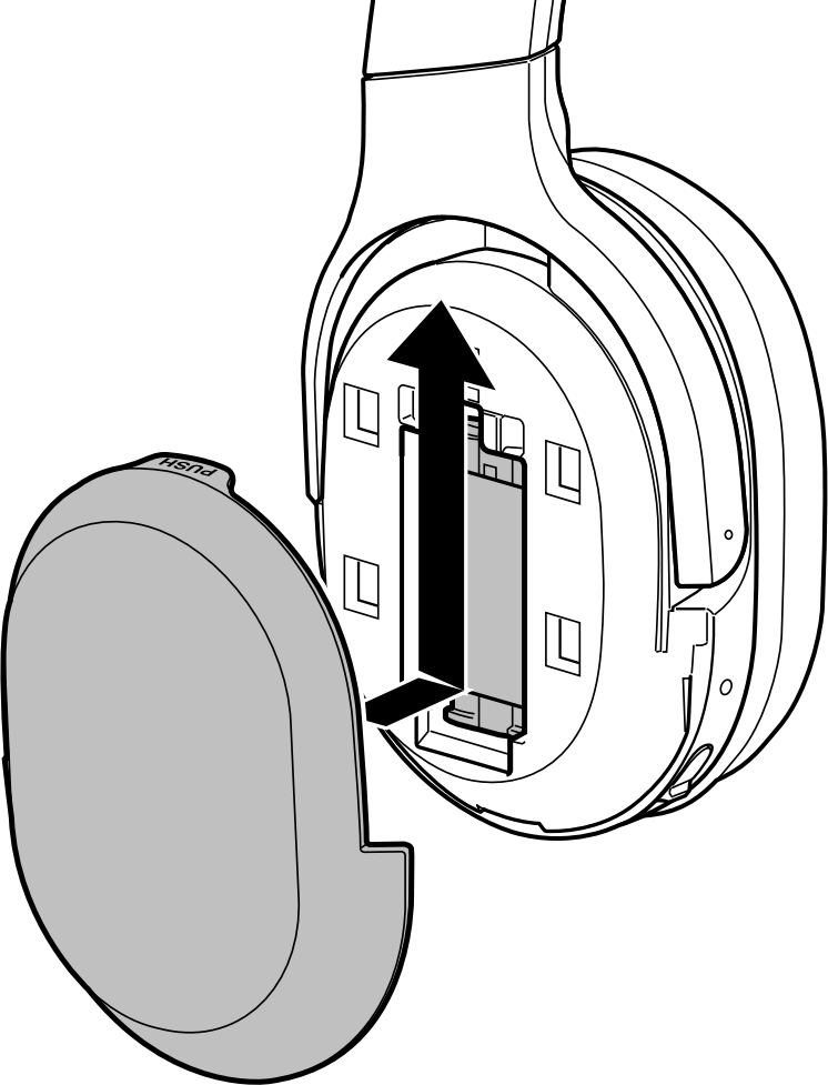 Reinstalling the battery cover to the earcup. Illustration.