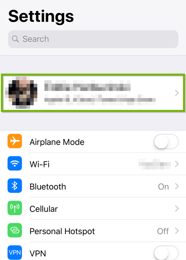 iOS settings with Apple ID selected
