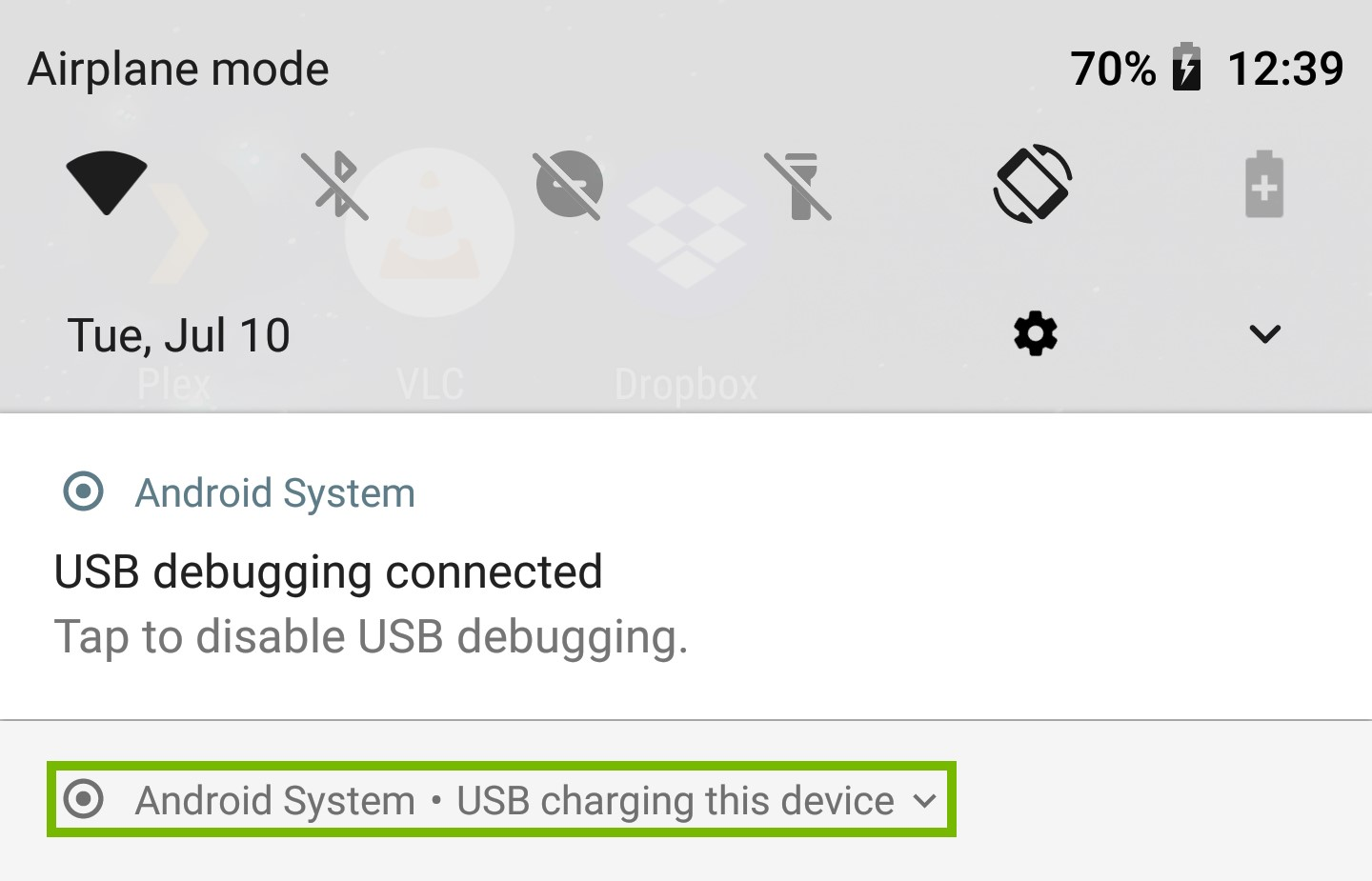 Notifications with USB Mode highlighted