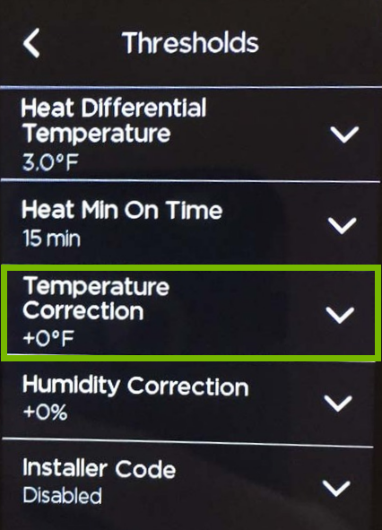 Temperature Correction option highlighted in ecobee settings.