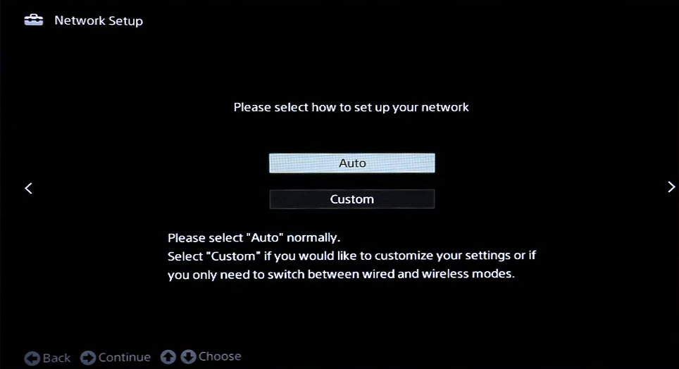Network setup with auto and custom options