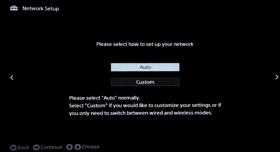 Network setup with auto and custom options