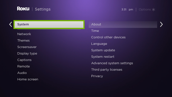 System option highlighted in Roku settings.