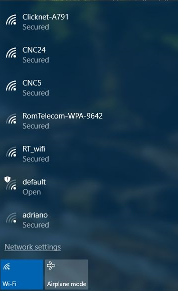 Windows 10 list of available wireless networks.