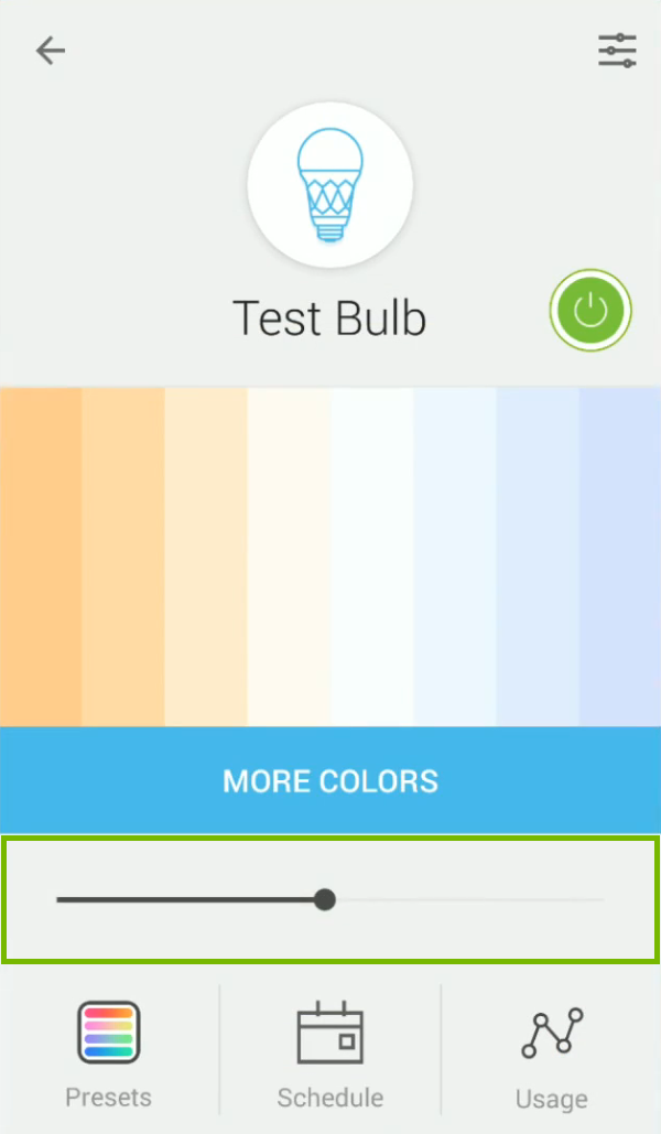 Bulb brightness level slider highlighted in the Kasa app.