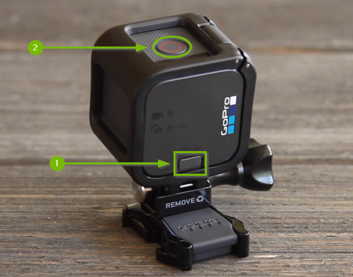 GoPro Session camera with Menu button highlighted on top and Shutter button highlighted on the side.