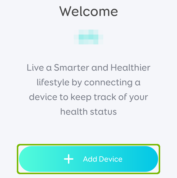 Welcome screen with Add device highlighted.
