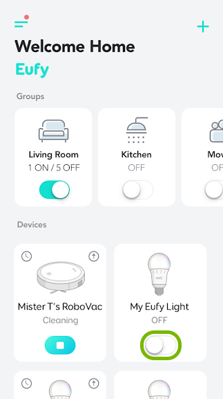 Toggle switch highlighted on individual bulb tile in EufyHome app.