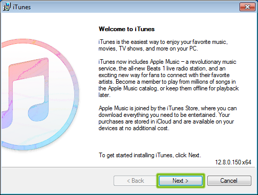 iTunes installer with Next highlighted.