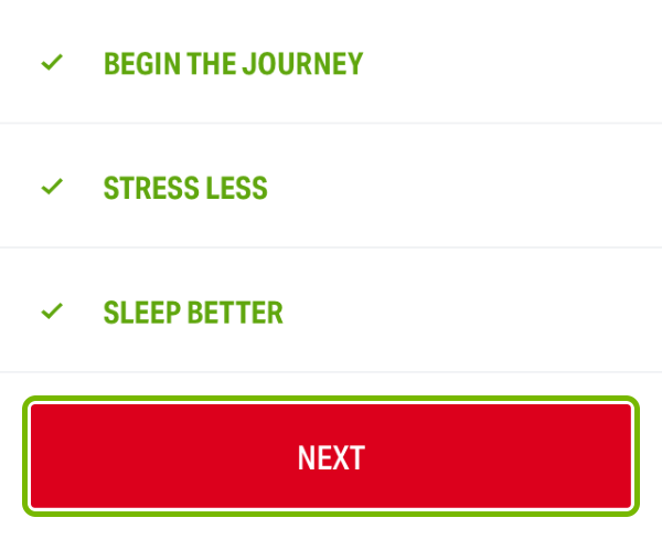 Next button highlighted on fitness goals selection in Under Armour Record app.