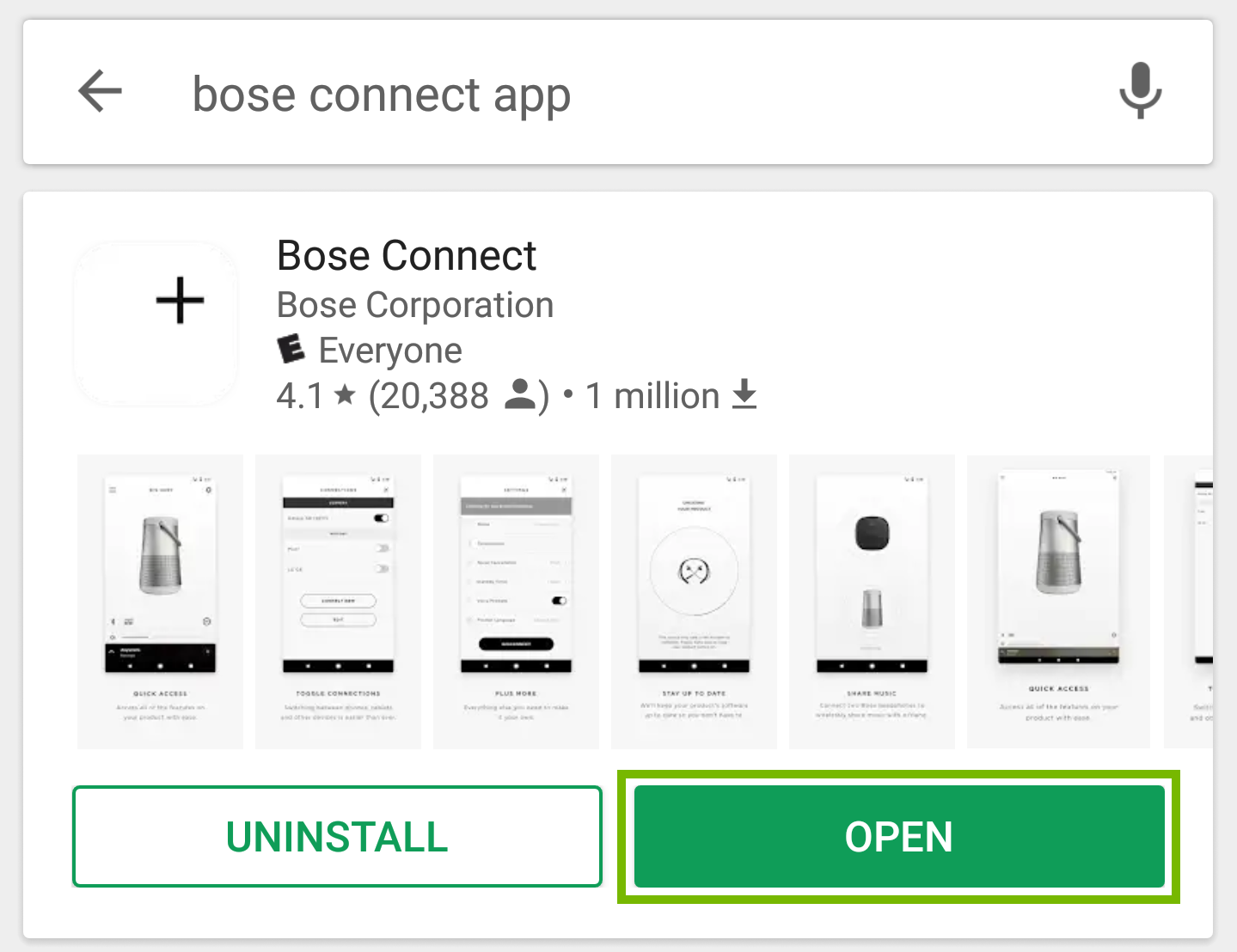 Bose Connect app page with open highlighted.