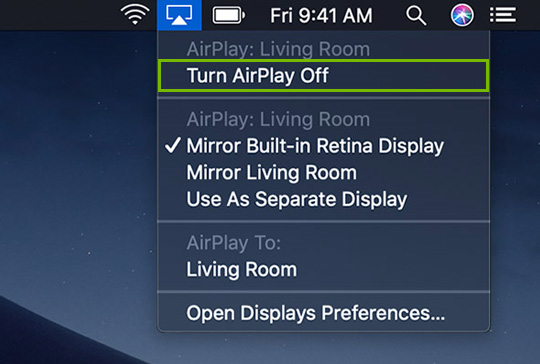 Turning AirPlay off.