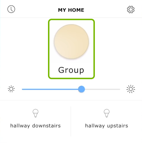 Group name and circular swatch highlighted in Ikea Tradfri app.