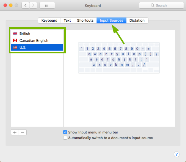 Input Sources tab pointed out and keyboard layout selection area highlighted in Keyboard Preferences in macOS.