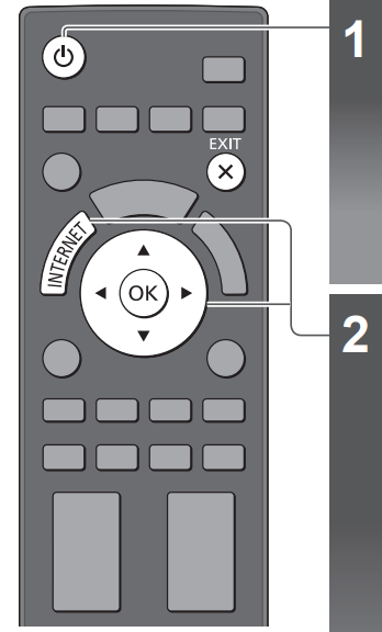 TV remote with Power button highlighted above, Internet and navigation buttons below. Illustration.
