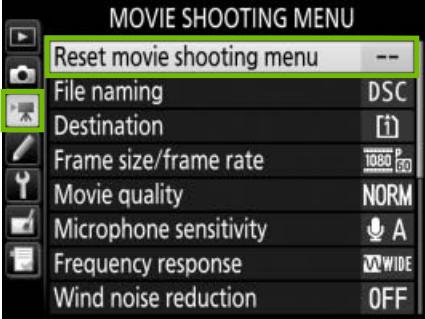 movie menu with reset movie shooting menu highlighted
