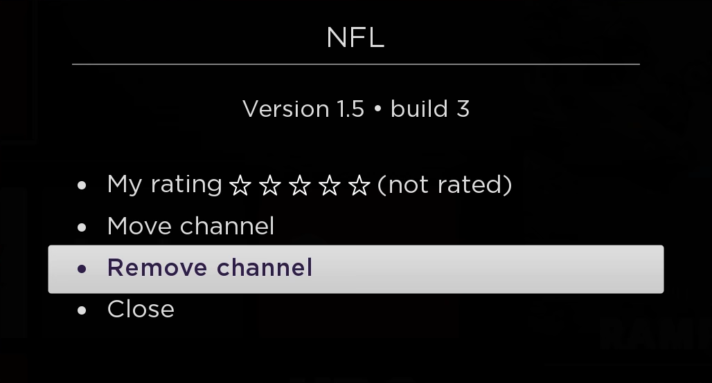 Roku TV channel removal option.