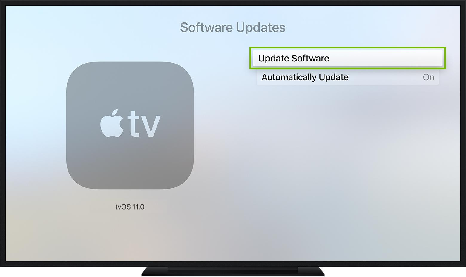 Apple TV software updates screen highlighting the Update Software button.